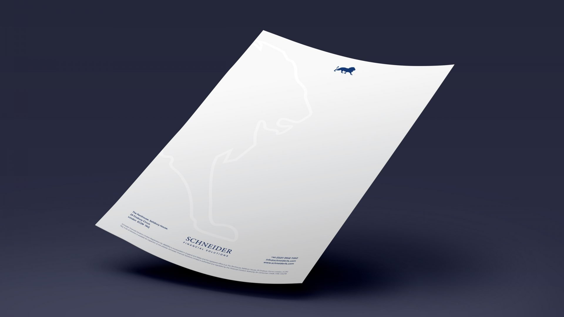 Crate47 Schneider Financial Services rebranding and website design - Letterhead paper design