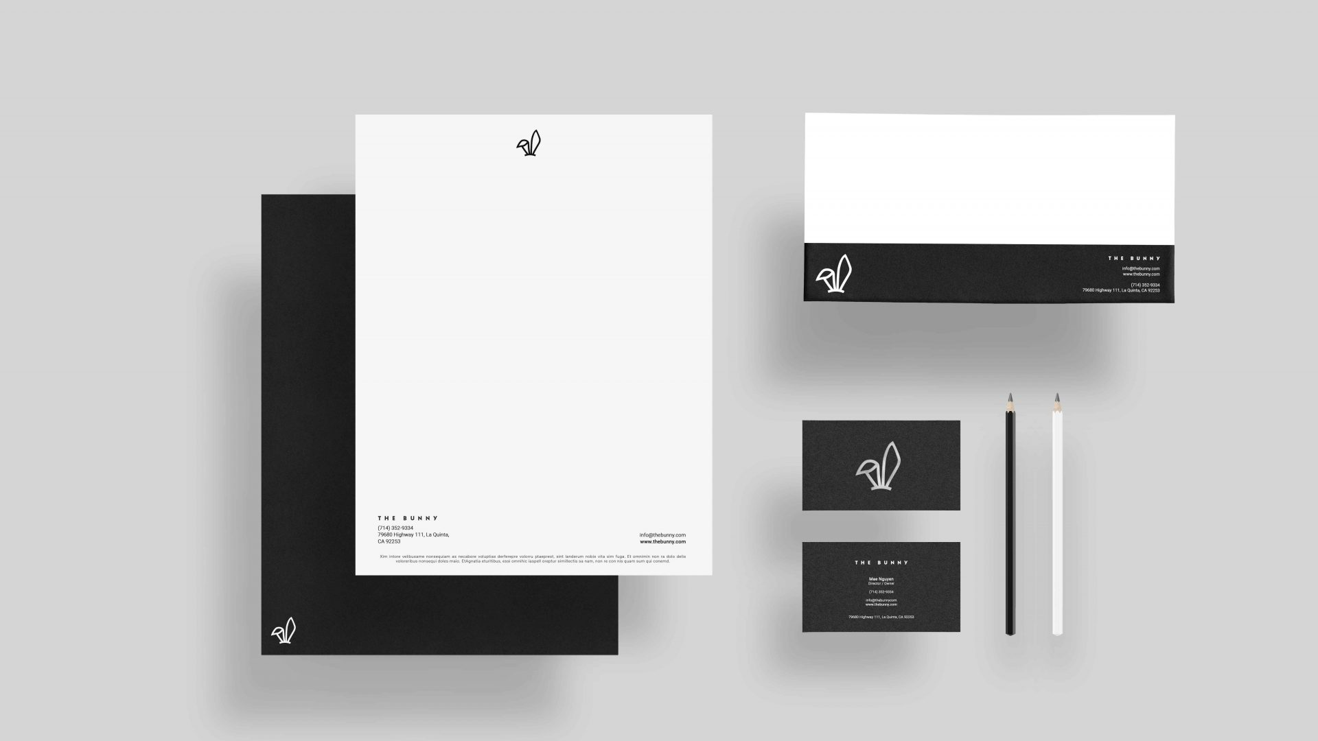 Brand identity design by Crate47. The Bunny bubble tea logo and marque used on stationery.